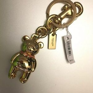 Auth Coach 3D Gold Teddy Bear Keyring/Bag Charm